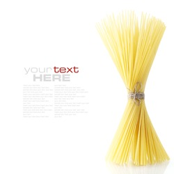 Close up of Spaghetti isolated on white background (with space for text)