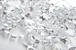 Silver Christmas decoration- stars, isolated over white