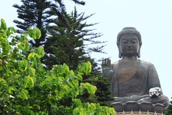 The Big Buddha, landmark on Lantau Island, Hong Kong