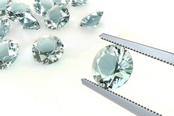 Choosing the best diamond of all. Concept of wealth and lust.