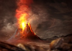 Massive Volcano Eruption. A large volcano erupting hot lava and gases into the atmosphere. 3D Illustration.