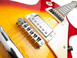 Electric guitar over white background,low angle shot, for music and entertainment themes