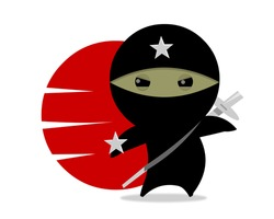 NINJA STAR Little ninja character. Digital Illustration.