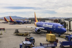 Las Vegas - Circa July 2017: Southwest Airlines Boeing 737s preparing for departure. Southwest is the largest low-cost carrier in the world I