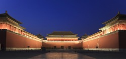 The Meridian Gate at dusk. Forbidden City in Beijing, China.