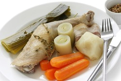 chicken pot-au-feu , boiled chicken with vegetables