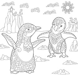 Young Emperor Penguins Among Arctic Landscape Freehand Sketch Drawing For Adult Antistress Coloring Book In Zentangle Sty Stock Vector