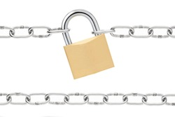 Padlock and chain isolated on white, outline clipping path included