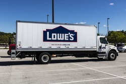 Indianapolis - Circa July 2017: Lowe's Home Improvement Delivery Truck. Lowe's operates retail home improvement and appliance stores in North America VIII