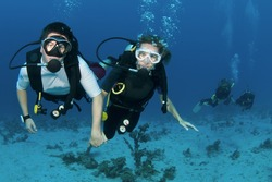 married couple scuba dive together