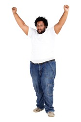 overweight african american man arms up