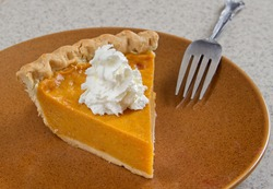 one slice of homemade pumpkin pie with whipped cream