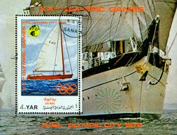 Y.A.R. - CIRCA 1972: a stamp printed by  Y.A.R.  shows block  XX Summer Olympic games. Sailing racing in Keel. Series, circa 1972, Germany