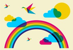 Spring time: full color humming birds, rainbow and clouds.