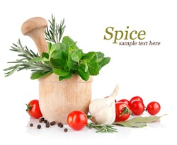 fresh spice and vegetables isolated on white background