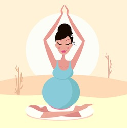 Beautiful pregnant mom practicing yoga pose. Vector Illustration.