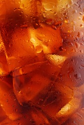 close up of an iced soda.