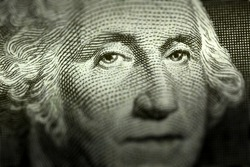 Washington's eyes on a dollar bill