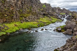 View of river in Tingvellir national park in Iceland