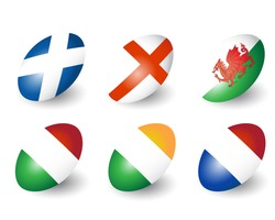 Six rugby balls representing the nations of England, Scotland, Wales, Ireland, France & Italy. EPS10 vector format.