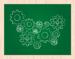gears on blackboard