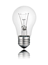 Perfect Lightbulb - Lightbulb with Reflection Isolated on White Background. Photo of Ordinary Switched Off Screw Lightbulb Over White