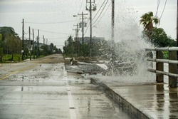 Water coming over the road in Kemah during Hurricane Harvey