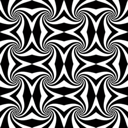 Whirl black and white geometric seamless pattern. Abstract vector background.