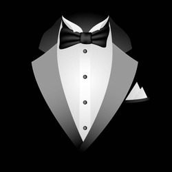 Illustration of tuxedo with bow tie on a black background. Vector.