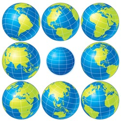 Set of detailed vector globes showing earth with all continents