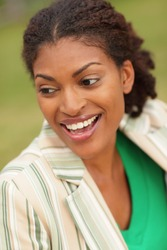 Young black woman smiling