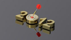 Dart hitting target - New Year 2012 isolated on shiny grey. Computer generated 3D photo rendering.