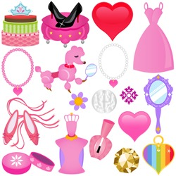 Vector of Sweet Princess theme for diva in pink shade with diamond, shoes, accessories. A set of cute and colorful icon collection isolated on white background