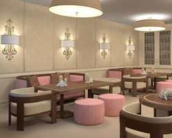 Interior of restaurant. 3d render.