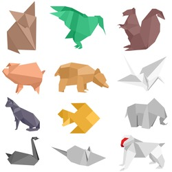 origami-style illustrations of different animals