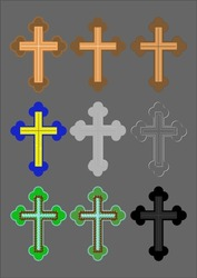 Christian cross made of different materials to finish