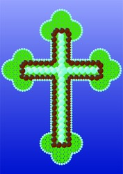 Christian cross made of beads with a finish.