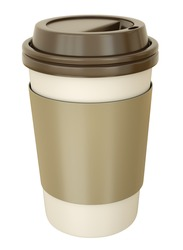 Takeaway coffee cup with lid. 3D render.
