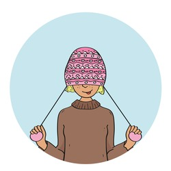 Portrait of young pretty funny smiling girl in cold weather dressed in sweater and warm hat. Vector illustration
