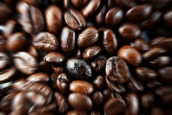 Macro closeup of coffee beans with zoom effect