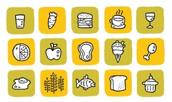 doodle icon set - food. changeable colors.