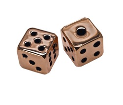 Pair of copper dice on white background.