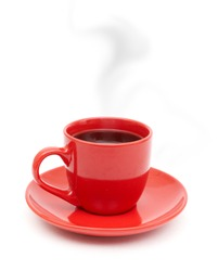 Red coffee cup on plate with smoke isolated on white background.
