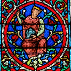 Stained glass window in the Notre Dame Cathedral in Paris depicting an ancestor of Jesus Christ, as part of the Tree of Jesse.