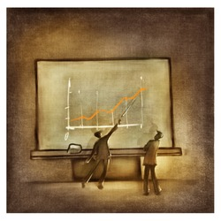 two men discussing the chart at the business presentation (stylized)
