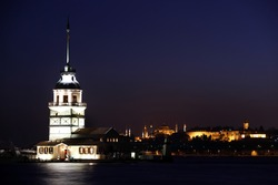 Maiden Tower at night, Istanbul. In the distance are such landmarks as Hagia Sophia and Topkapi Palace.