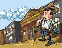 Cartoon cowboy casts a shadow in the dusty streets of a old west town