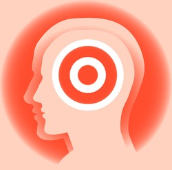Target. Abstract image of a silhouette of a man's head with the target. Symbolize the goal for knowledge ...