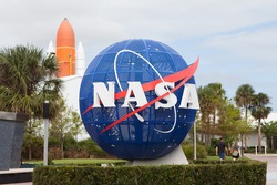 TITUSVILLE, FL - OCTOBER 12: NASA display at Kennedy Space Center Visitors Complex in Titusville, FL on October 12, 2017.