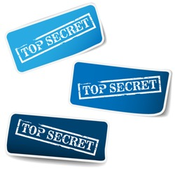 Blue tags with stamp - top secret
